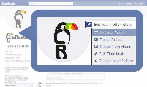 Facebook - upload picture and modify thumbnail