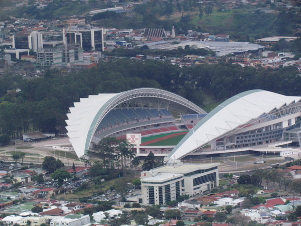 New National Stadium from the air as we departed Pavas for Puerto Jimenez on the Osa Peninsula