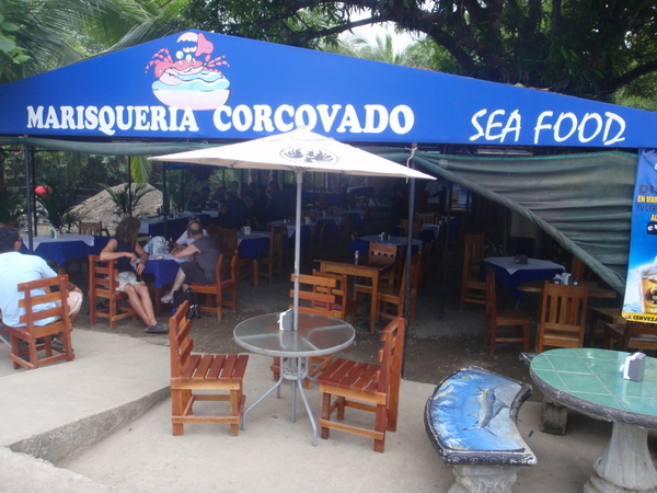 Marisqueria Corcovado restaurant near the public dock in Puerto Jimenez