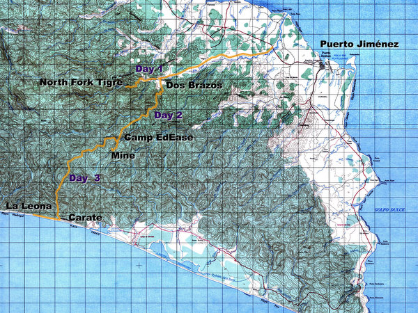 Trekking route across the Osa Peninsula
